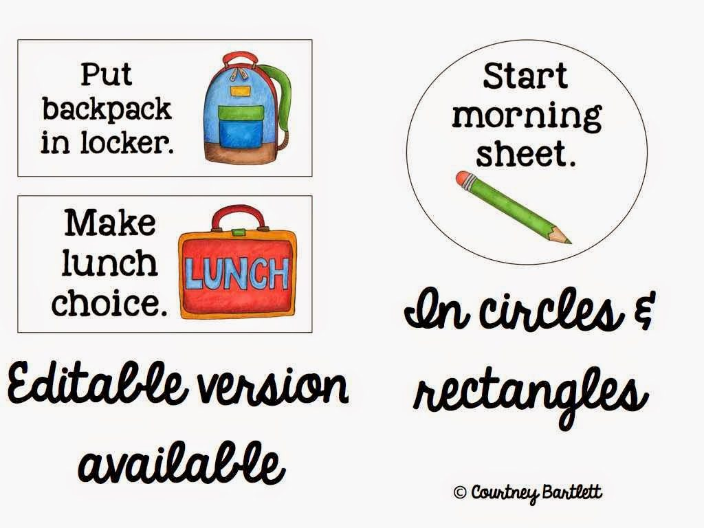 http://www.teacherspayteachers.com/Product/Morning-Routine-Printables-857525